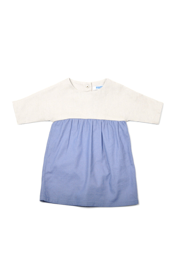 The Pulau Babies Bicolor Dress - Soft Grey with Pigeon Blue