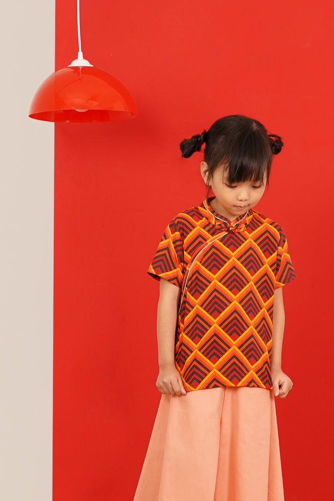 The Spring Short Sleeve Cheongsam Blouse - Sunrise Print