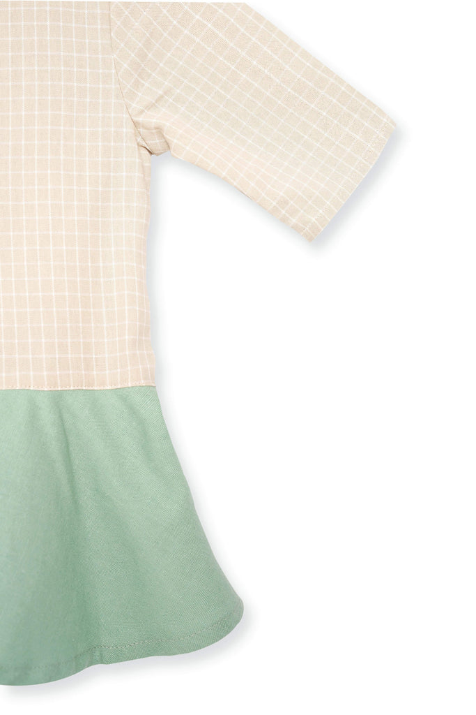 The Spring Babies Cheongsam - Checked with Vegan Green - POKOKS.COM