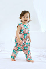 The Bangun Babies Sleeveless Jumpsuit - Broccoli Print