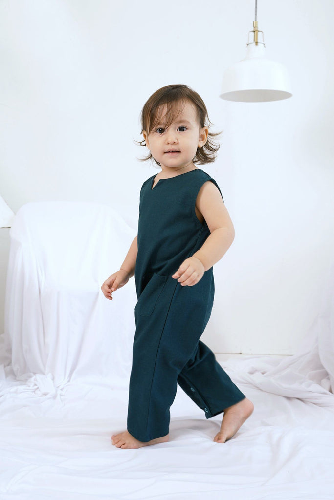 The Bangun Babies Sleeveless Jumpsuit - Emerald Green