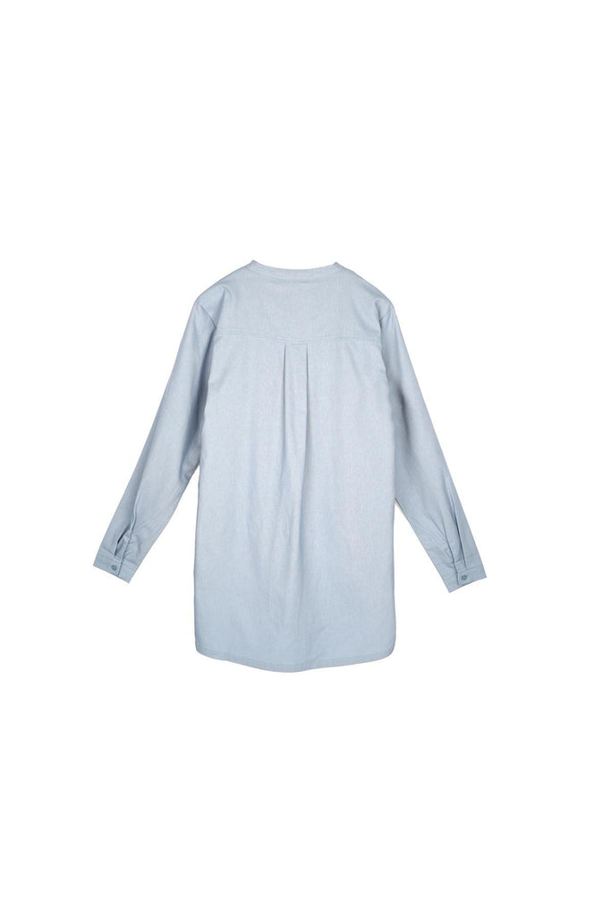 The Nari Men Baju Melayu Shirt - Light Pigeon Blue