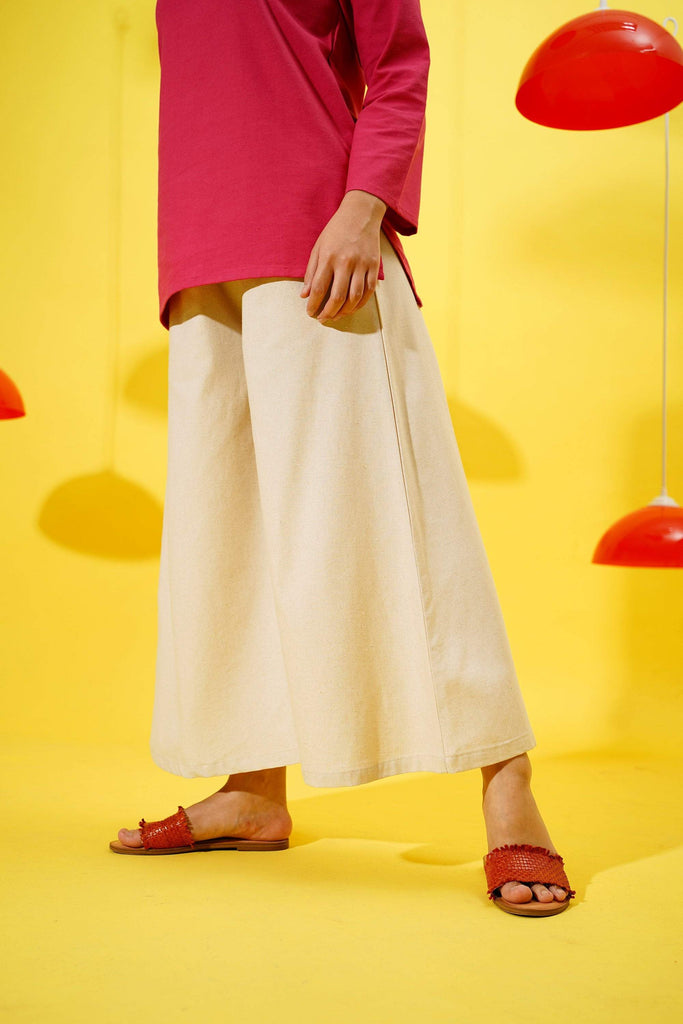 The Spring Super Wide Leg Pants - Natural Linen - POKOKS.COM