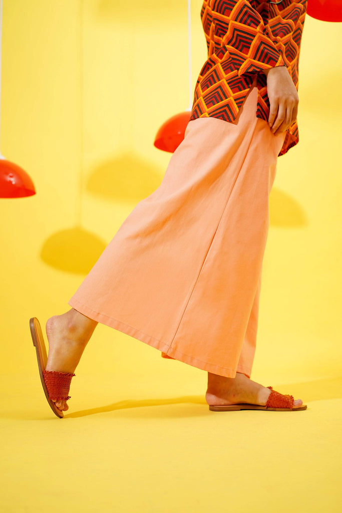 The Spring Super Wide Leg Pants - Salmon - POKOKS.COM