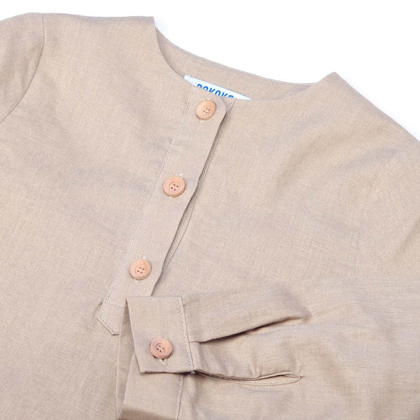 The Pulau Men Long Sleeve Cotton Linen Kurta - Khaki