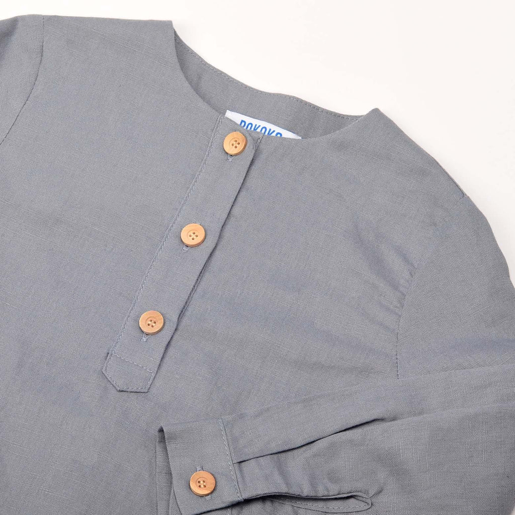 The Pulau Long Sleeve Cotton Linen Kurta - Steel Grey