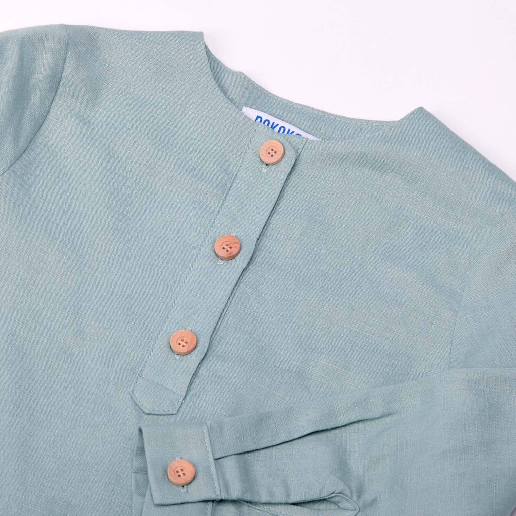 The Pulau Men Long Sleeve Cotton Linen Kurta - Fosty Green