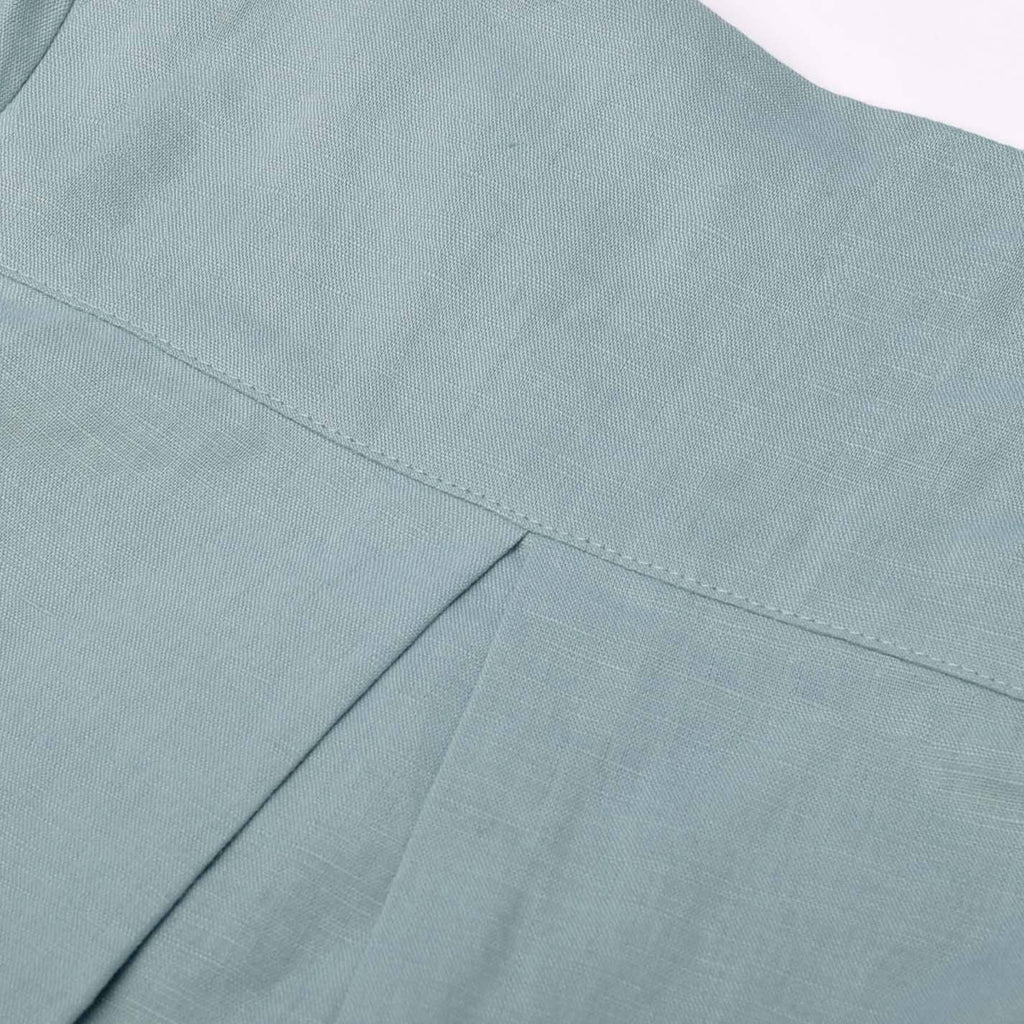 The Pulau Long Sleeve Cotton Linen Kurta - Frosty Green