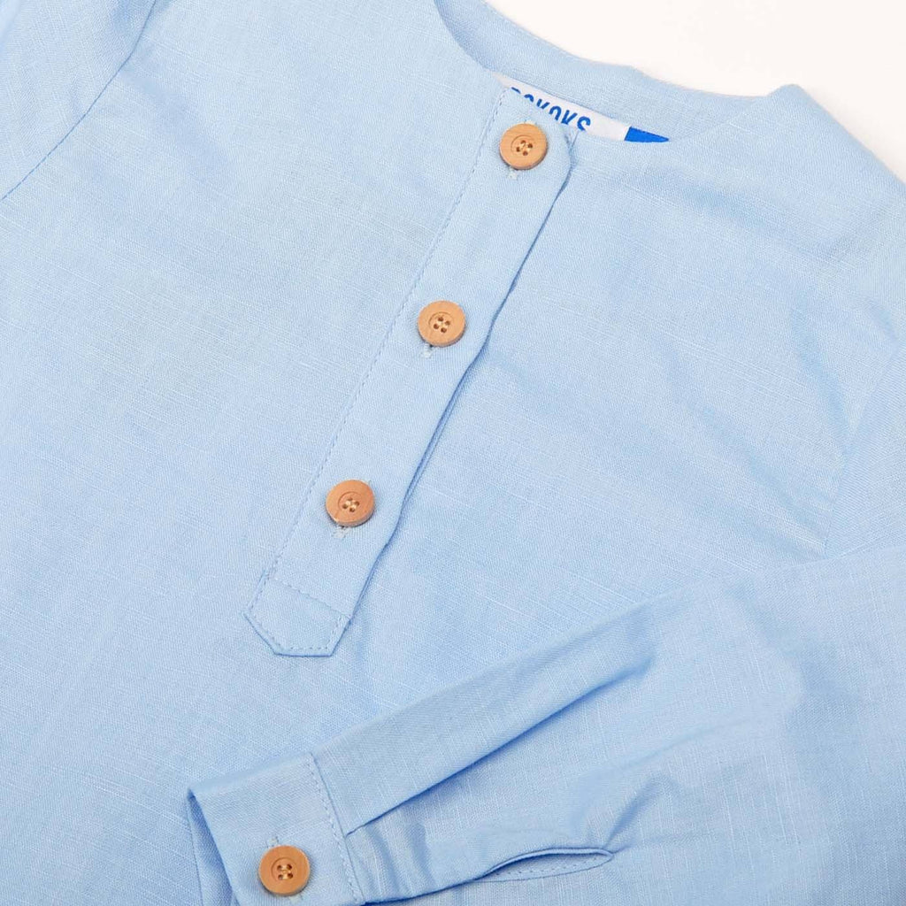 The Pulau Long Sleeve Cotton Linen Kurta - Baby Blue