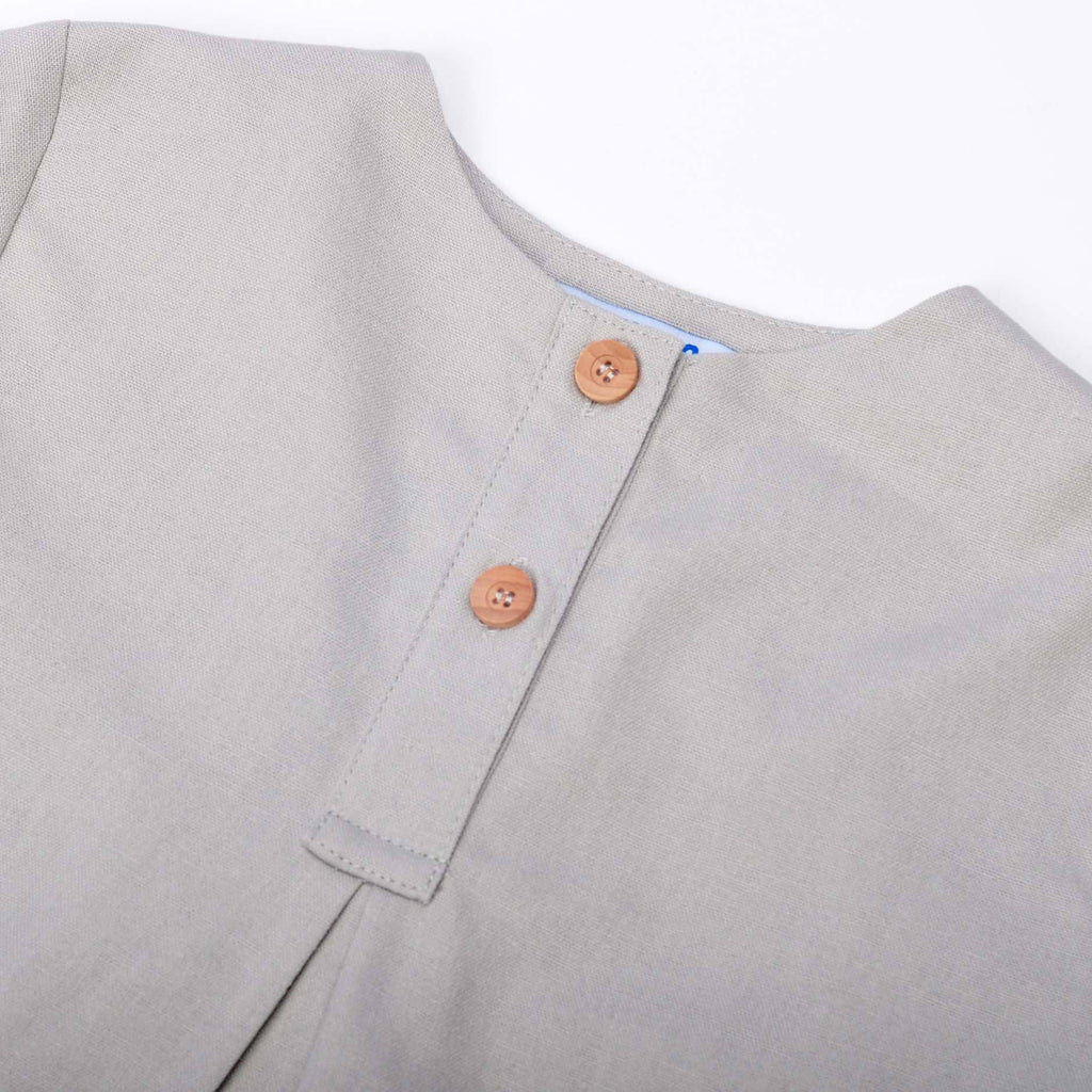 The Pulau Cotton Linen Blouse - Soft Grey