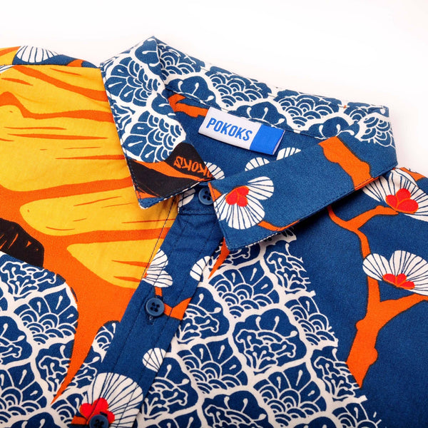The Pulau Short Sleeve Batik Set - Sentosa with Navy Blue
