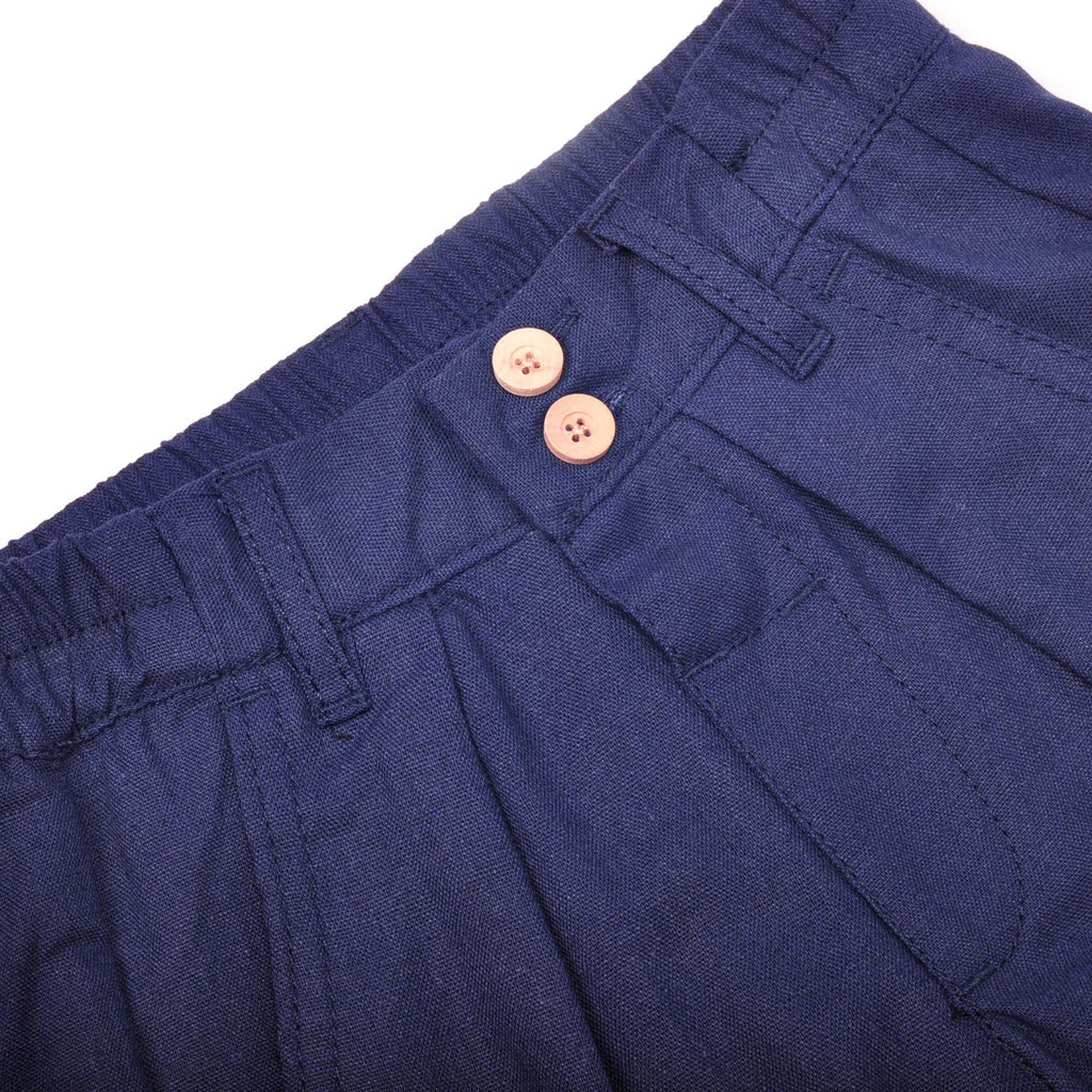 The Pulau Cotton Linen Pants - Navy Blue