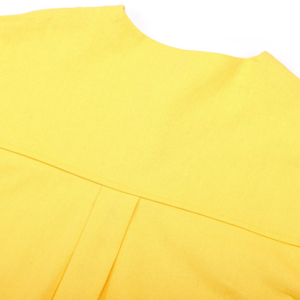 The Pelangi Pair Pockets Blouse - Lemon Yellow