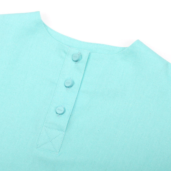 The Pelangi Baju Kurung - Tiffany Blue with Soft Grey