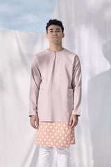 The Langit Men Baju Melayu Shirt With Pair Pockets - Dusty Pink