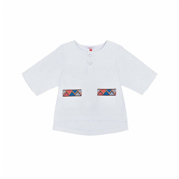 The Serai Ethnic Pair Pockets Shirt - White