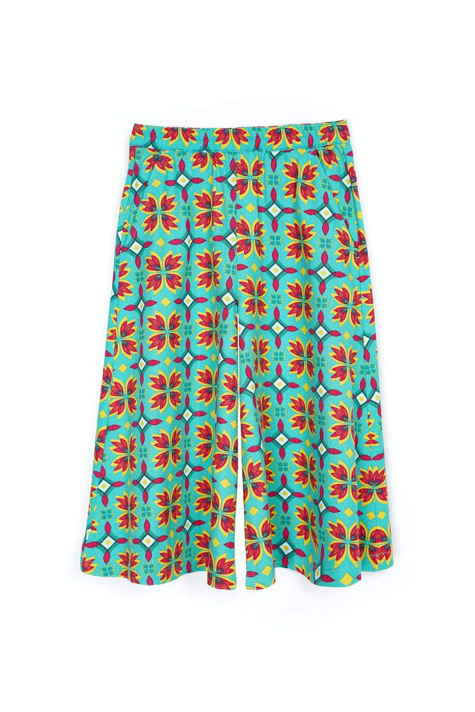 The Spring Super Wide Leg Pants - Spring Garden Print - POKOKS.COM