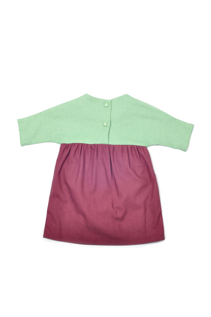 The Pulau Babies Bicolor Dress - Vegan Green with Mangosteen