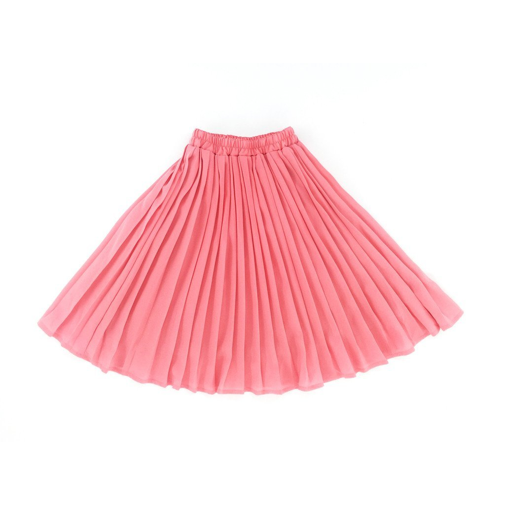 The Tropical Long Pleated Skirt - Pink