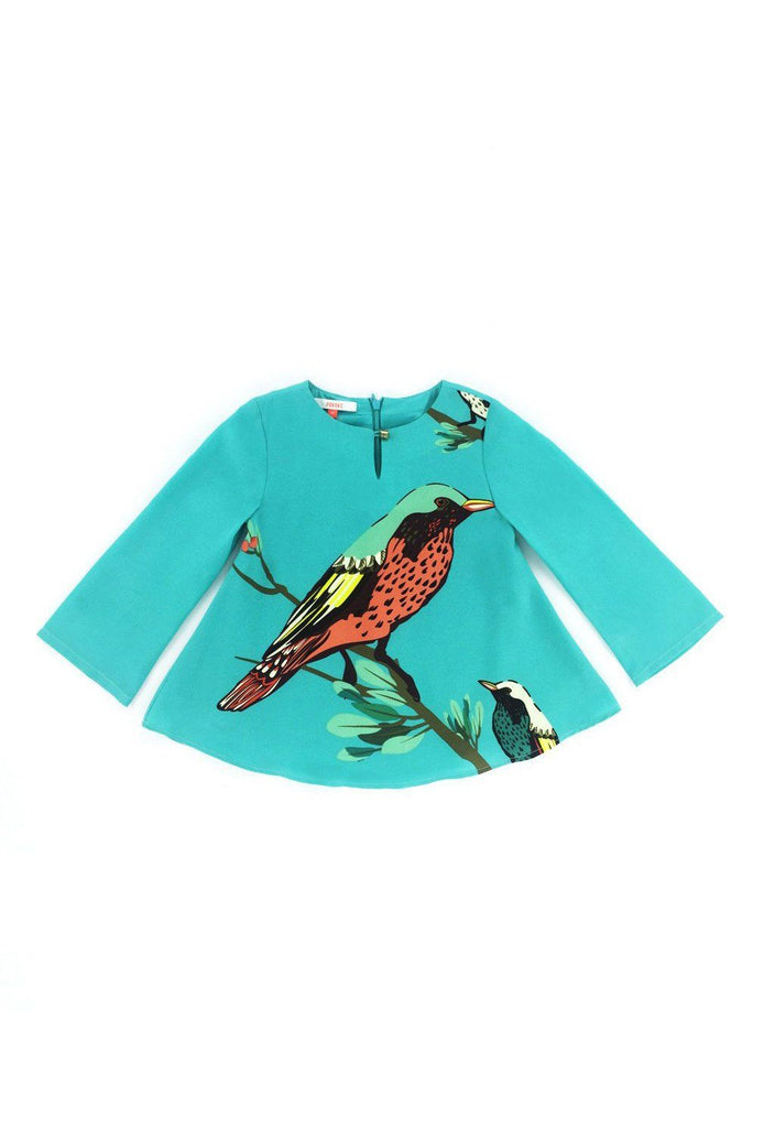 The Tropical Chatty Birds Comfort Blouse - Green
