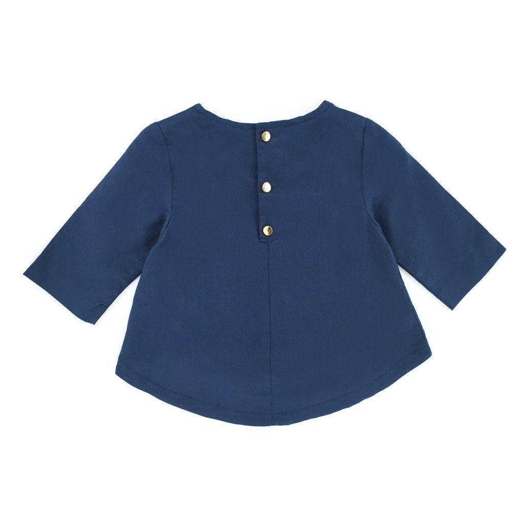 The Tropical Mini Foxy Linen Blouse - Dark Blue