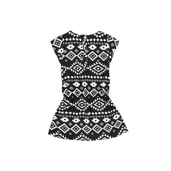 Viscose dress comel kanak-kanak in afraca black & white patterned print