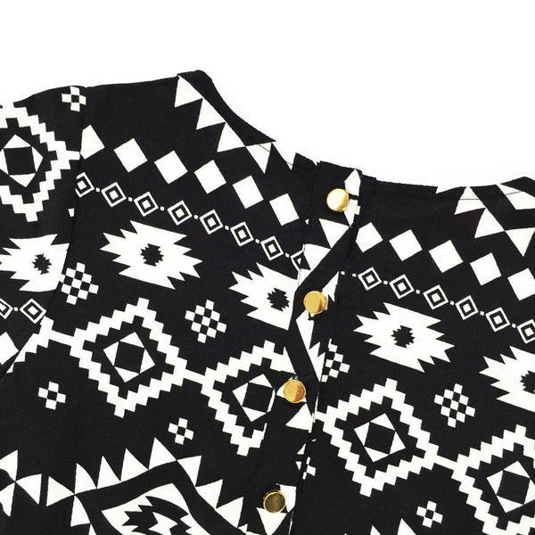The Tropical Holiday Flutter Dress - Africa Black & White Pattern Print