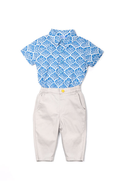 The Pulau Babies Batik Jumpsuit with Pants - Langkawi with Soft Grey