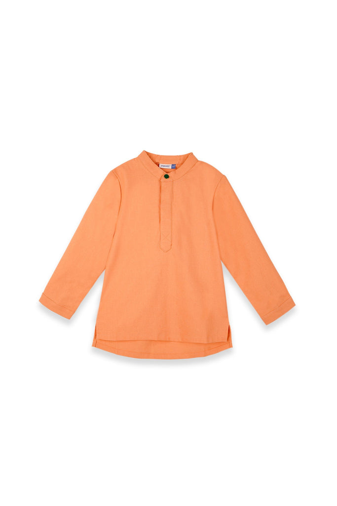 The Teratai Mandarin Kurta - Orange