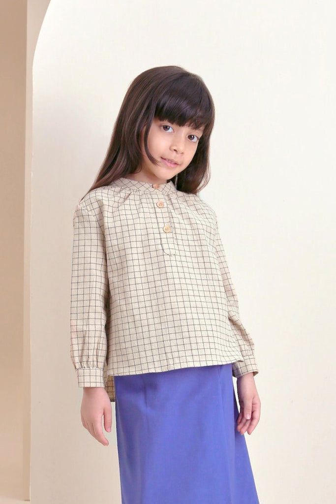 The Oasis Blooming Blouse - Checked Blue