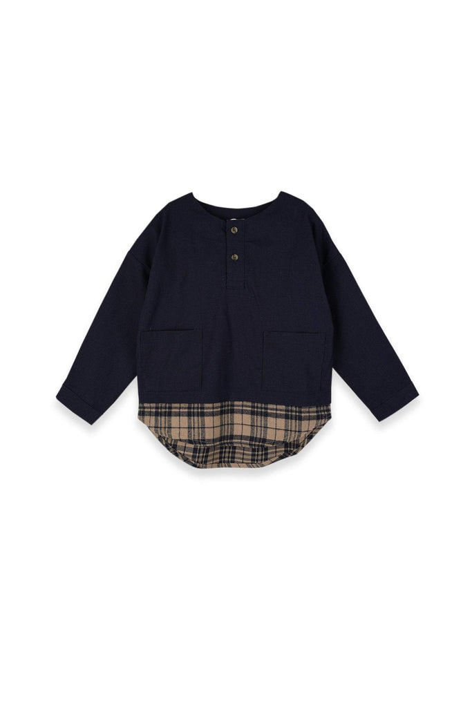 The Teratai Unisex Mock Layer Top - Navy Blue / Checked Khaki - POKOKS.COM