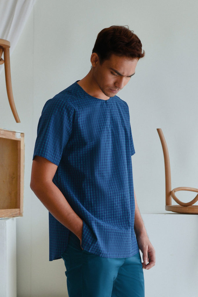 The Sungai Men Short Sleeve Kurta - Ocean Checked