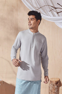 The Balik Men Baju Melayu Top - Light Grey