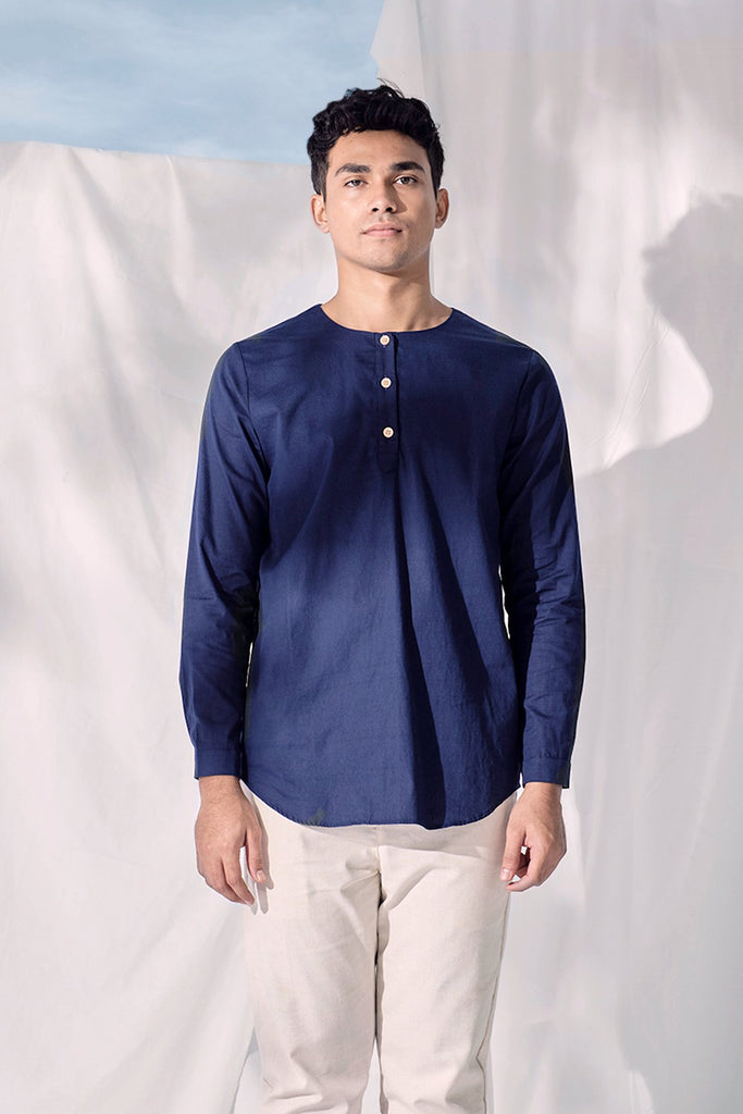 The Langit Men Kurta - Navy Blue