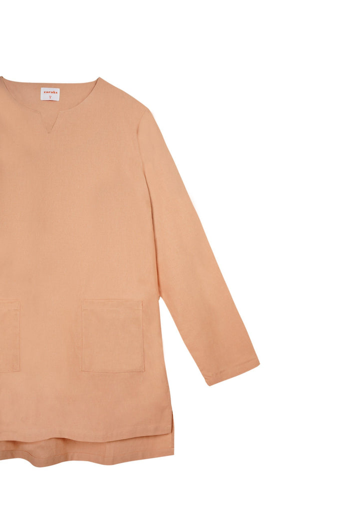 The Bangun Men Pair Pockets Kurta - Peach