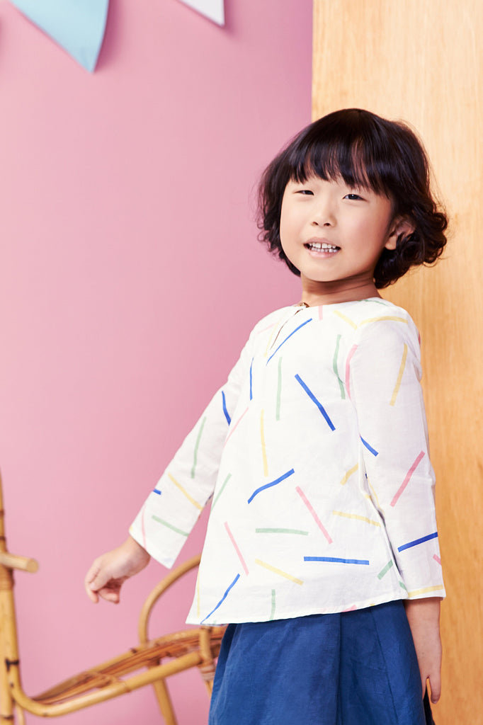 The Tropical Mini Foxy Cotton Blouse - Summer Playdate Print