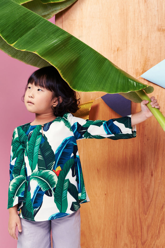 The Tropical Leaves Comfort Blouse - Off White