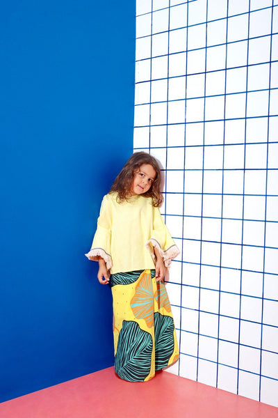 The KITA Poncho Baju Kurung - Lemon Yellow with Explorers Print