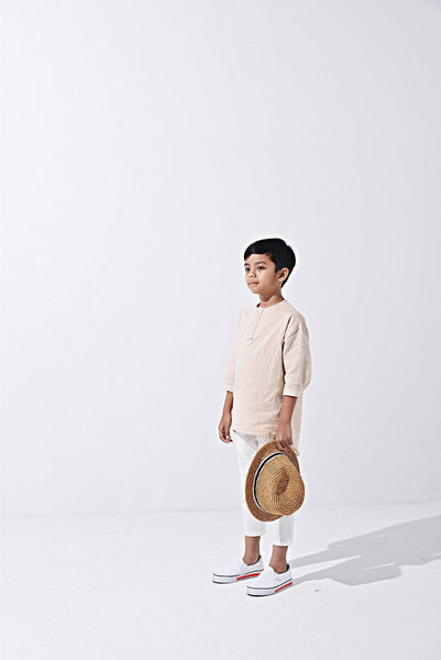 The LAGOM Unisex High Low Kurta - Beige