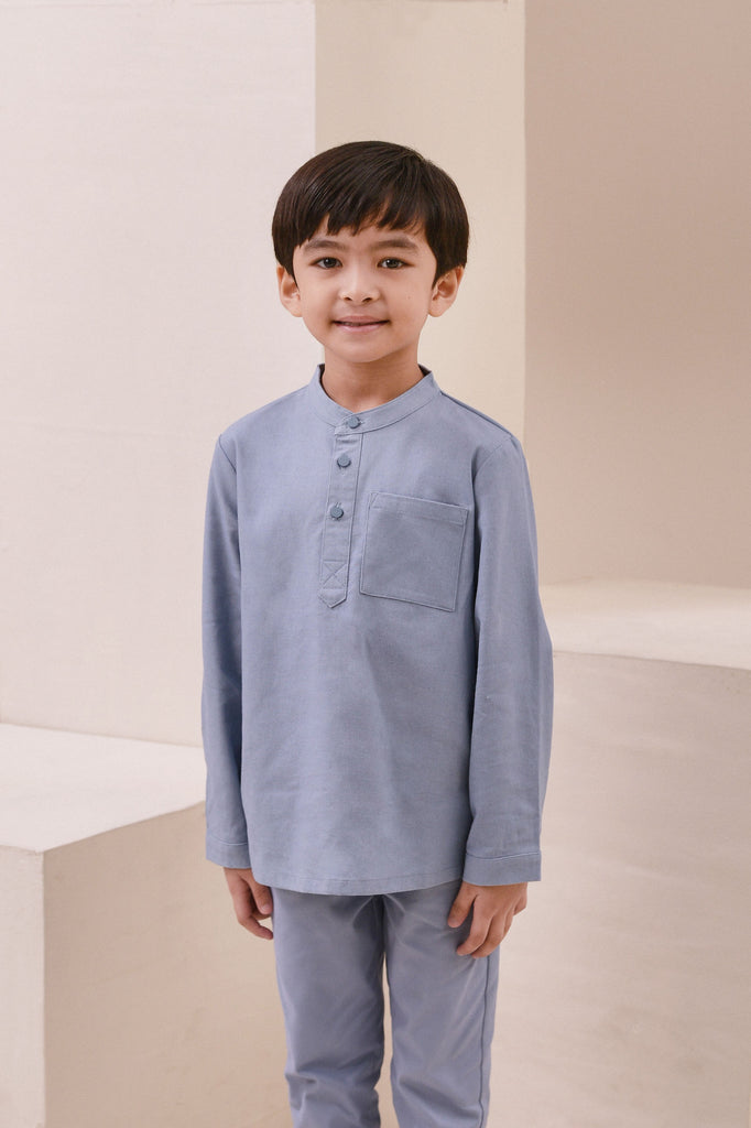 The Nari Baju Melayu Shirt - Light Pigeon Blue