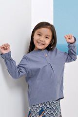 The Pulau Cotton Linen Blouse - Pigeon Blue