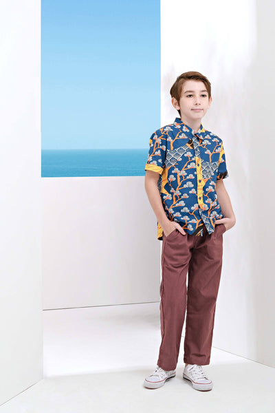 The Pulau Short Sleeve Batik Set - Sentosa with Mangosteen