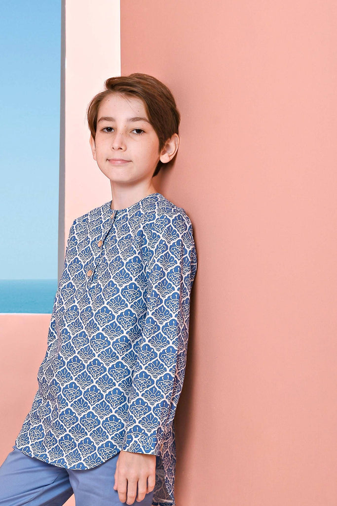 The Pulau Long Sleeve Batik Kurta - Langkawi Print