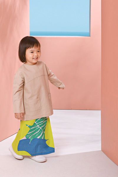 The Pulau Pair Pockets Baju Kurung - Khaki with Semporna