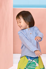 The Pulau Cotton Linen Blouse - Baby Blue