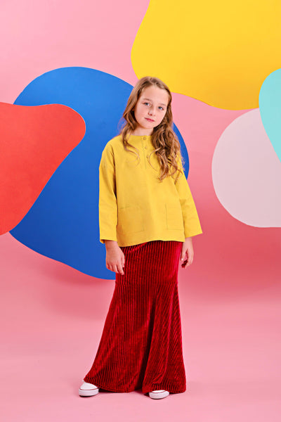 The Pelangi Mermaid Baju Kurung - Mustard with Ruby Red