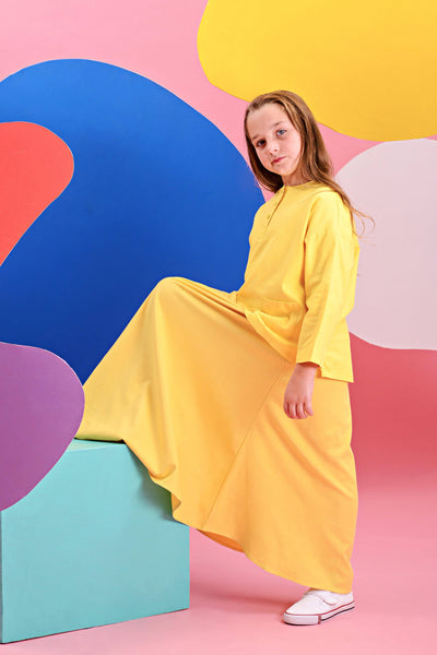 The Pelangi Baju Kurung - Lemon Yellow with Yellow