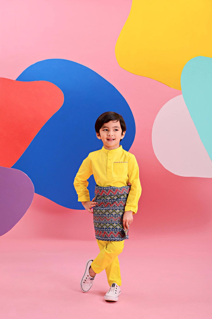 The Pelangi Kurta - Lemon Yellow