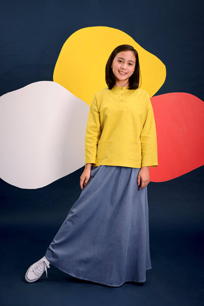 The Pelangi Baju Kurung - Mustard with Blue