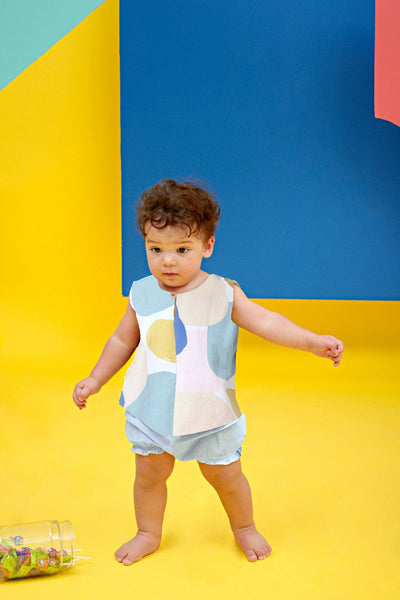 The KITA Babies Set with Bloomers - Sailors Print with Sky Blue